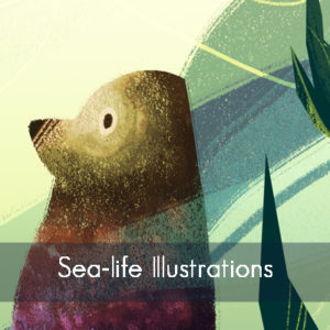 Sea-life Illustrations, Button